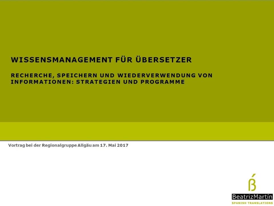 Vortrag: Wissensmanagement für Übersetzer